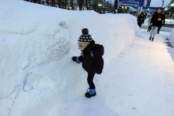 札幌駅に到着。息子氏の背丈以上の雪山がそこら中あります!